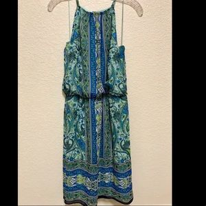 Blue and Green Casual Dress